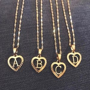 Jewelry - Gold Tone Initial Letter Pendant Heart Necklace